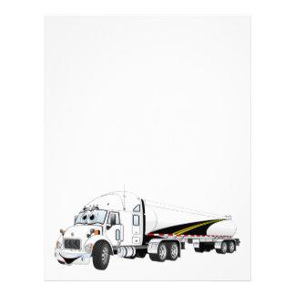 White Roadway Semi Truck Tanker Cartoon Letterhead
