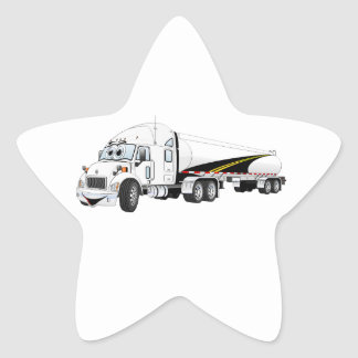 White Roadway Semi Truck Tanker Cartoon Star Sticker
