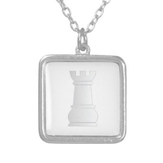 White rock chess piece silver plated necklace