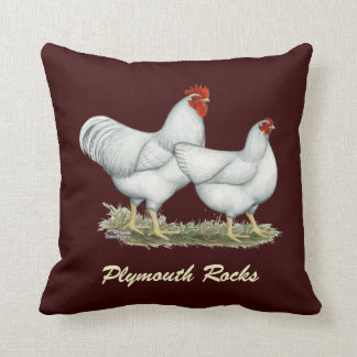 White Rock Chickens Throw Pillow