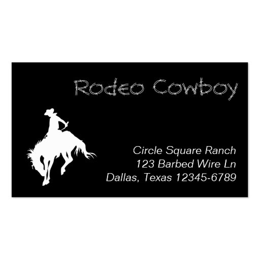 White Rodeo Cowboy Shape Business Cards