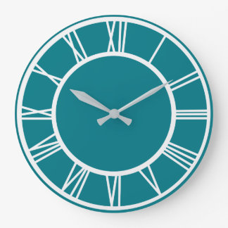 White Roman Numbers Border Pattern Round Clock