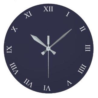 White Roman Numbers Round Clock Add Photo