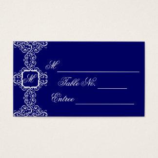 White Romance Monogram Place Card