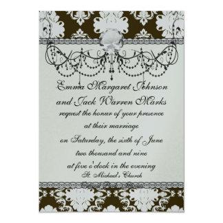 white romantic damask on dark brown card