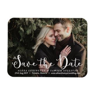 White Romantic Script Photo Save the Date Magnet