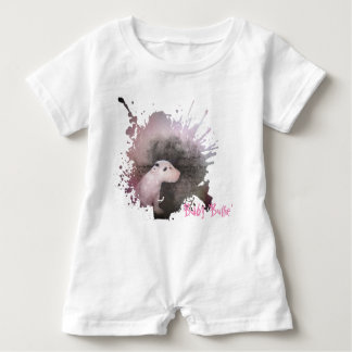 White Romper with Pastel Pink Bull Terrier puppy