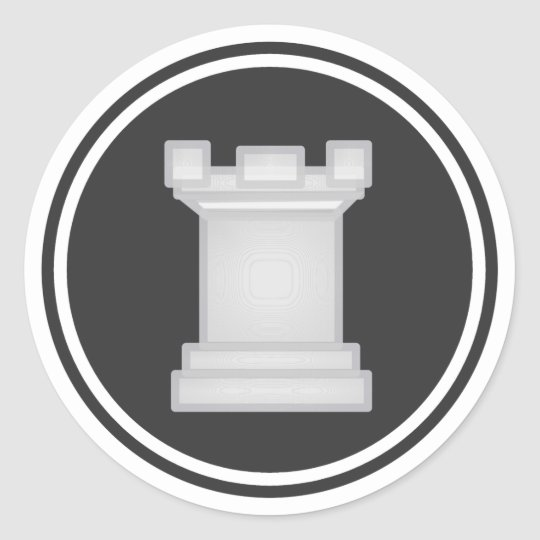 White Rook Chess Piece Classic Round Sticker