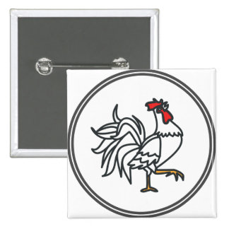 White Rooster  - Fish Prawn Crab Collection 2 Inch Square Button