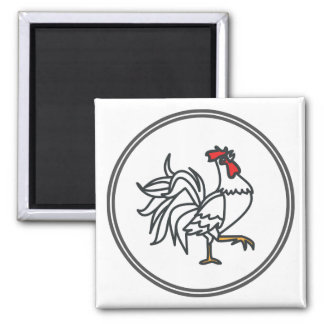 White Rooster  - Fish Prawn Crab Collection 2 Inch Square Magnet