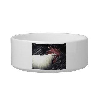 white rooster head vintage look cat food bowl