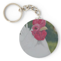 White Rooster Keychain
