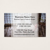 white rooster on dock business card