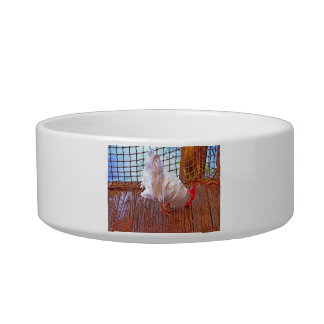 white rooster on dock hdr pet bowl