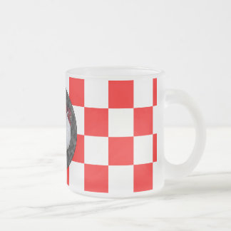 White Rooster on Red Check Frosted Glass Coffee Mug