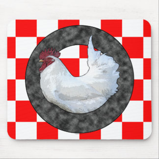 White Rooster on Red Check Mouse Pad