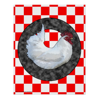 White Rooster on Red Check Poster