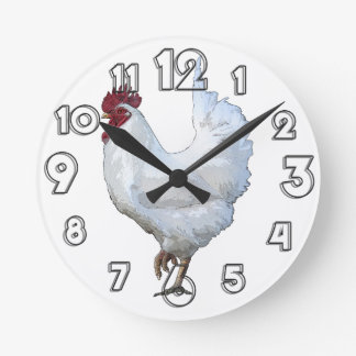 White Rooster Round Clock