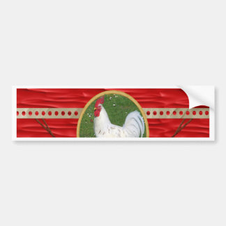 White Rooster, Round Frame, Sign of Rooster in Gol Bumper Sticker