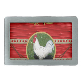 White Rooster, Round Frame, Sign of Rooster in Gol Rectangular Belt Buckle
