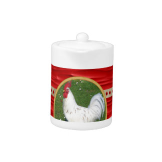 White Rooster, Round Frame, Sign of Rooster in Gol Teapot