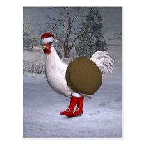 White Rooster Santa Claus Postcard