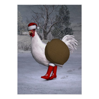 White Rooster Santa Claus Poster