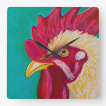 White Rooster Square Wall Clock