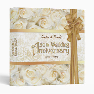 White Rose 50th Wedding Anniversary 3 Ring Binder
