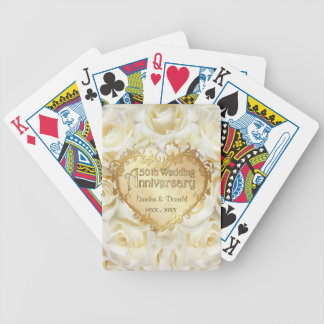 White Rose 50th Wedding Anniversary Bicycle Playing Cards