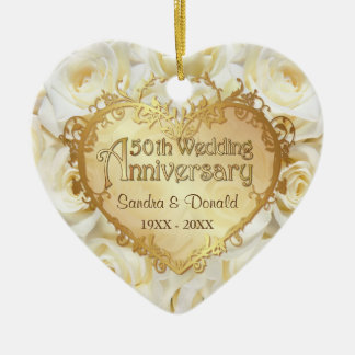 White Rose 50th Wedding Anniversary Ceramic Ornament