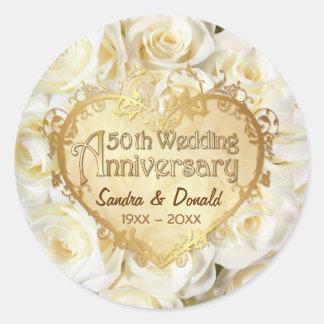 White Rose 50th Wedding Anniversary Classic Round Sticker