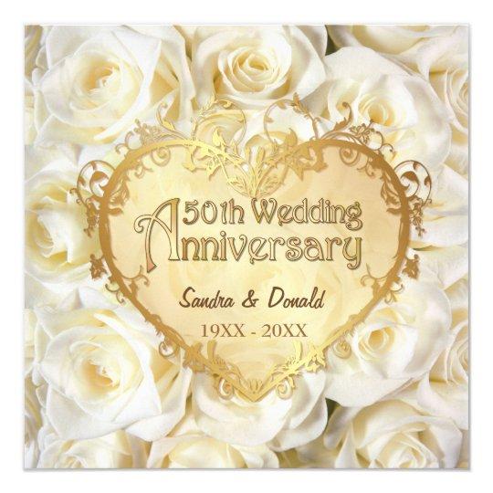 White Rose 50th Wedding Anniversary Invitation