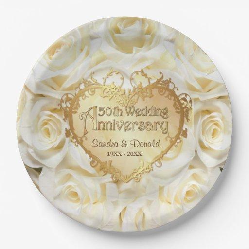 White Rose 50th Wedding Anniversary Paper Plate Zazzle