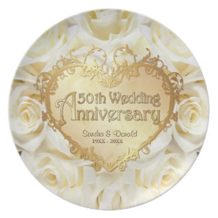 White Rose 50th Wedding Anniversary Plate at Zazzle