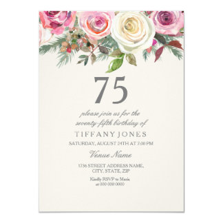 White Rose 75th 76th 77th 78th 79th Birthday Card