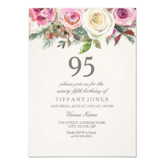 White Rose 95th 96th 97th 98th 99th Birthday Card