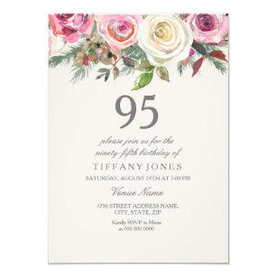 White Rose 95th 96th 97th 98th 99th Birthday Invitation