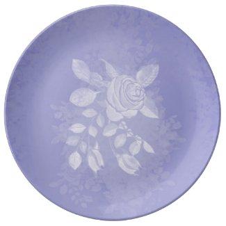White Rose accent Lavender Porcelain Dinner Plate