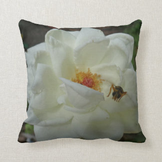 White Rose and Bee Throw Pillow