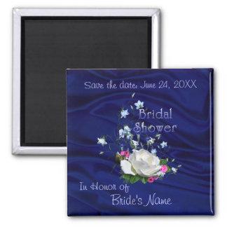 White Rose and Bluebells Bridal Shower Magnet