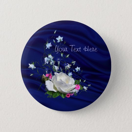White Rose and Bluebells Bridal Shower Pinback Button