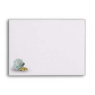 White Rose and Golden Rings - A7 Envelope white