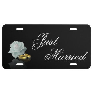 White Rose and Golden Rings Wedding License Plate License Plate