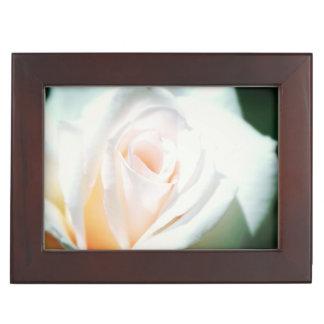 White Rose and Mint Ribbon Wedding Keepsake Box