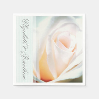White Rose and Mint Ribbon Wedding Disposable Napkins