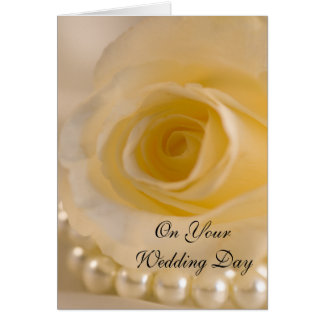 White Rose and Pearls Blended Family Wedding Card