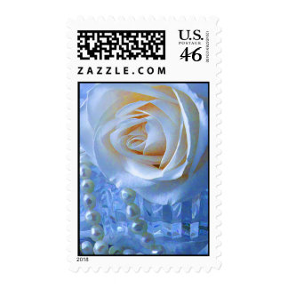 white Rose and Pearls Postage Stamps