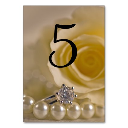White Rose and Pearls Table Numbers Table Card