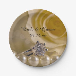 White Rose and Pearls Wedding 7 Inch Paper Plate